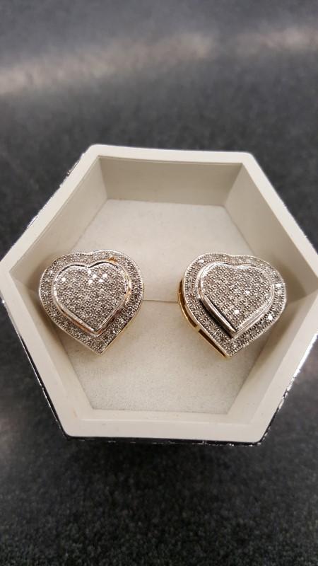 Gold-Diamond Earrings 150 Diamonds 1.50 Carat T.W. 10K Yellow Gold 4.4g