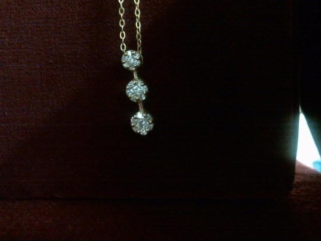 Diamond Necklace 21 Diamonds .39 Carat T.W. 14K Yellow Gold 2.4dwt