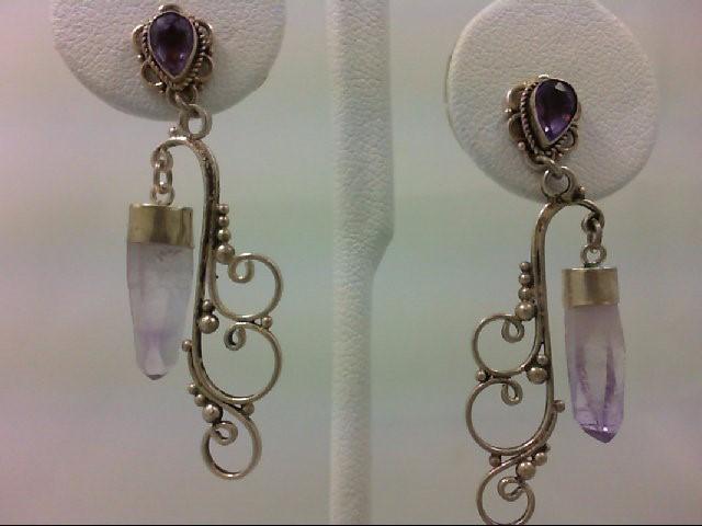 Amethyst Silver-Stone Earrings 925 Silver 4.4g