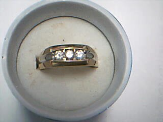 Gent's Gold-Diamond Wedding Band 3 Diamonds .45 Carat T.W. 14K Yellow Gold