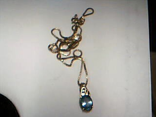 Blue Stone Stone Necklace 10K Yellow Gold 4.54g