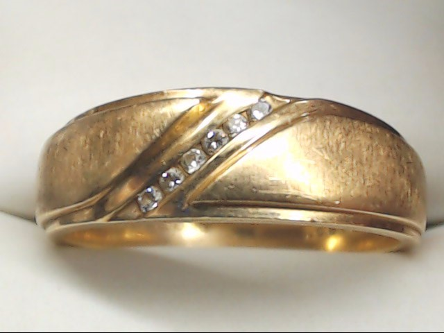 Gent's Gold-Diamond Wedding Band 6 Diamonds .06 Carat T.W. 14K Yellow Gold 5.9g