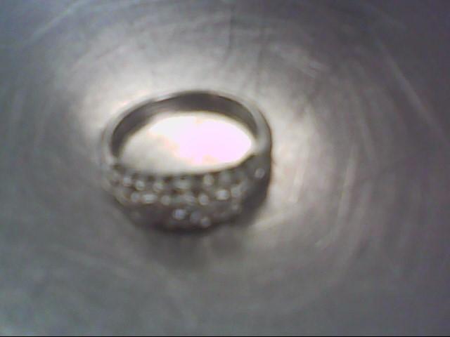 Lady's Silver-Diamond Ring 3 Diamonds .03 Carat T.W. 925 Silver 2.7g