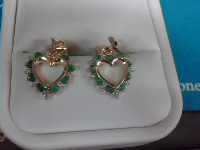 Emerald Gold-Stone Earrings 10K Yellow Gold 2.3g