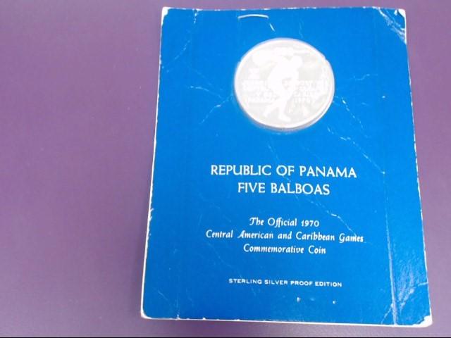 PANAMA Silver Coin REPUBLIC OF PANAMA FIVE BALBOAS COMMEMORATIVE COIN