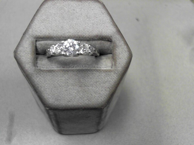 Lady's Diamond Fashion Ring 5 Diamonds .92 Carat T.W. 14K White Gold 4.08g