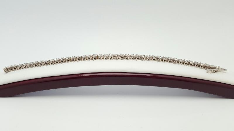 Gold-Diamond Bracelet 123 Diamonds 2.72 Carat T.W. 14K White Gold 15.2g