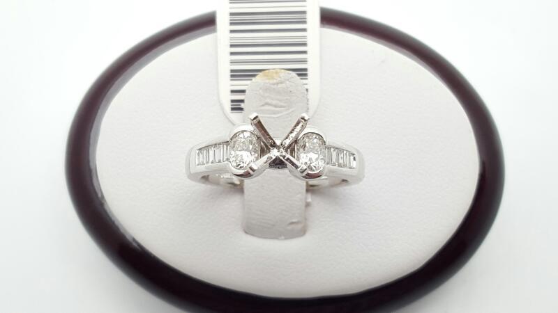 Lady's Diamond Engagement Ring 12 Diamonds .66 Carat T.W. 18K White Gold 5.7g
