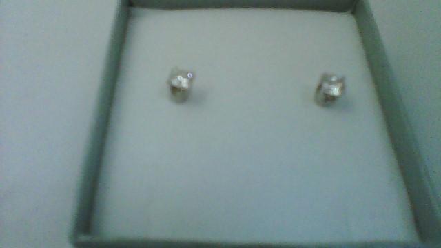 Gold-Diamond Earrings 2 Diamonds .43 Carat T.W. 14K White Gold 0.6g