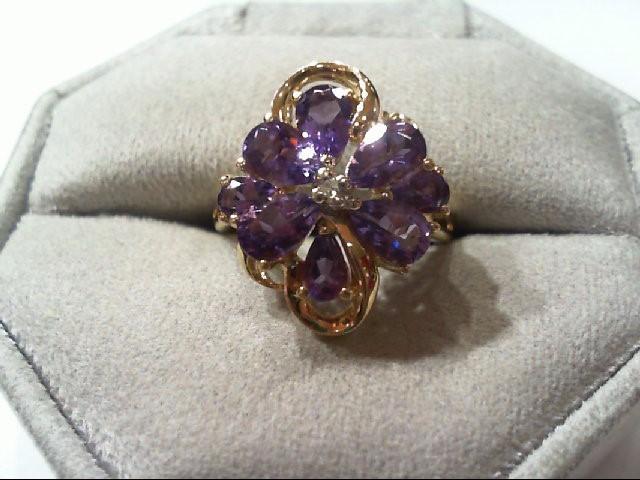 Amethyst Lady's Stone & Diamond Ring .01 CT. 14K Yellow Gold 3.4g