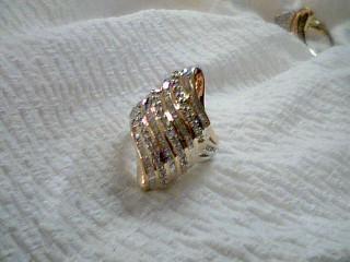 Lady's Silver-Diamond Ring 91 Diamonds 1.39 Carat T.W. 925 Silver 7.4g