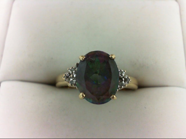 Synthetic Purple Stone Lady's Stone & Diamond Ring 6 Diamonds 0.06 Carat T.W. 10
