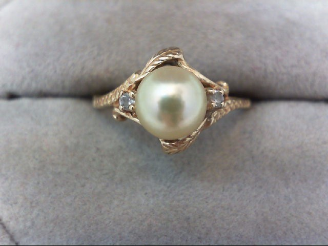 Pearl Lady's Stone Ring 10K Yellow Gold 2.2g
