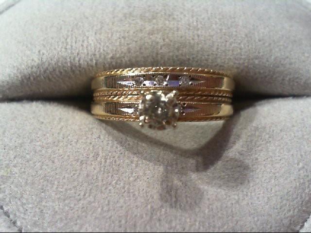 Lady's Diamond Wedding Set 6 Diamonds .17 Carat T.W. 14K 2 Tone Gold 4.5g