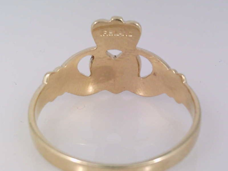 CLADDAGH RING REAL SOLID 14K GOLD IRELAND HEART HAND CROWN SIZE 8.75