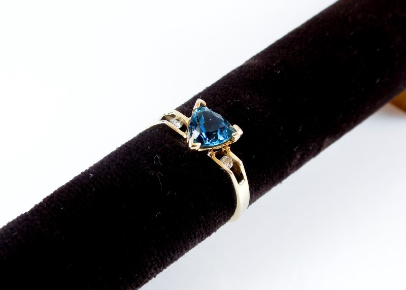 Synthetic Blue Stone Lady's Stone & Diamond Ring 2 Diamonds 0.02 Carat T.W. 14K