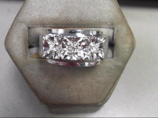 Gent's Gold-Diamond Wedding Band 3 Diamonds .12 Carat T.W. 14K White Gold 5.6g