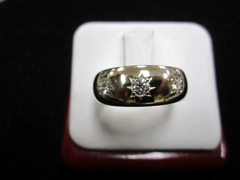 Gent's Diamond Fashion Ring 3 Diamonds .20 Carat T.W. 14K Yellow Gold 6.08dwt