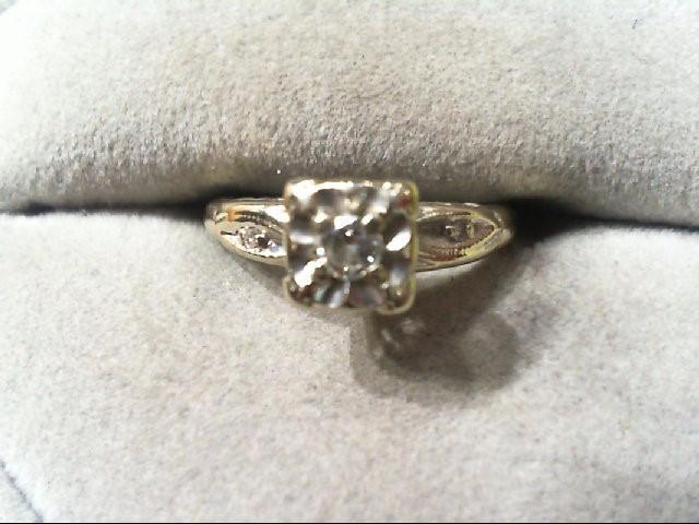 Lady's Diamond Wedding Set 3 Diamonds .14 Carat T.W. 14K 2 Tone Gold 1.9g