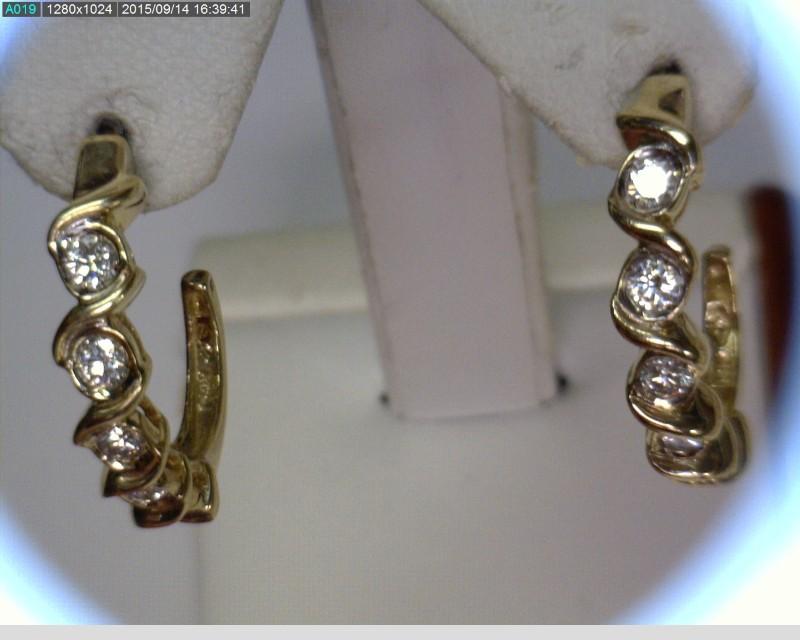 Gold-Diamond Earrings 10 Diamonds .70 Carat T.W. 14K Yellow Gold 3.54dwt