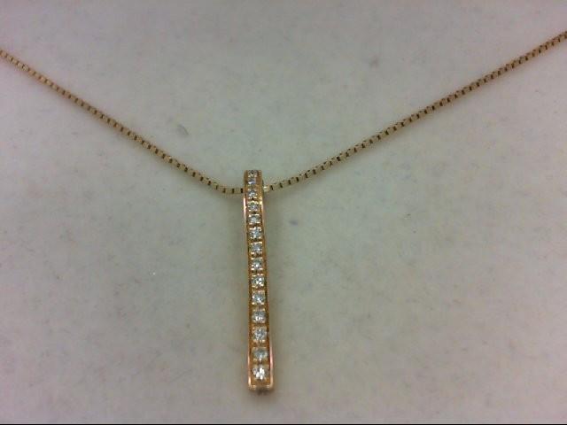 Gold-Multi-Diamond Pendant 15 Diamonds 0.15 Carat T.W. 14K Yellow Gold 4g