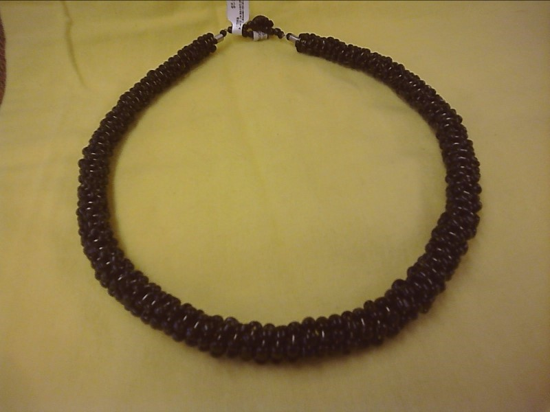 COSTUME NEW JEWELRY JEWELRY JEWELRY SHIVA IMPORTS; BLACK OR BROWN SPRIAL BEADED