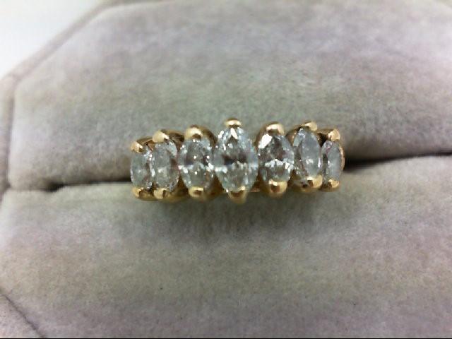 Lady's Diamond Fashion Ring 7 Diamonds 1.02 Carat T.W. 14K Yellow Gold 3.7g Size