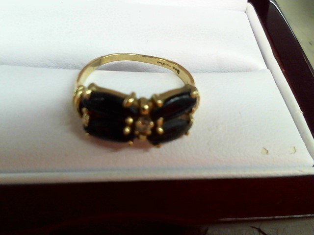 Synthetic Onyx Lady's Stone & Diamond Ring .03 CT. 14K Yellow Gold 2.2g