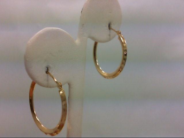 Gold Earrings 14K Pair of Quarter Coin Size Yellow Gold Hoop Earrings 1.2g