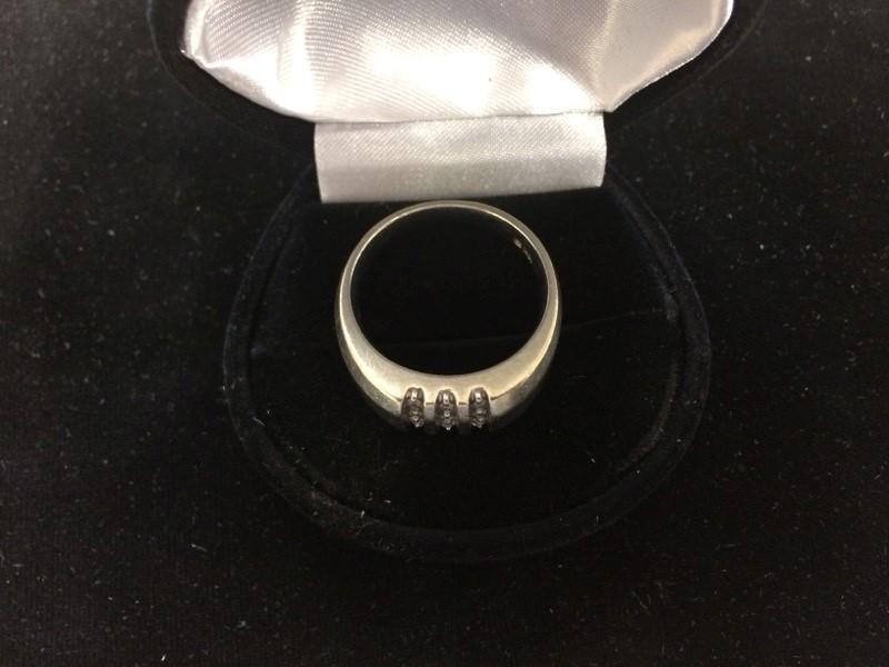 Gent's Diamond Fashion Ring 12 Diamonds .12 Carat T.W. 10K White Gold 4.6dwt