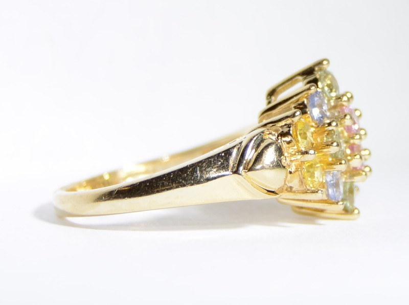 14K Yellow Gold Basket Set Cathedral Heart Shank Rainbow Cluster Ring sz 6