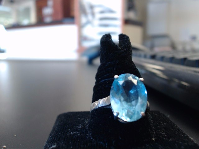 Synthetic Aquamarine Lady's Silver & Stone Ring 925 Silver 4g
