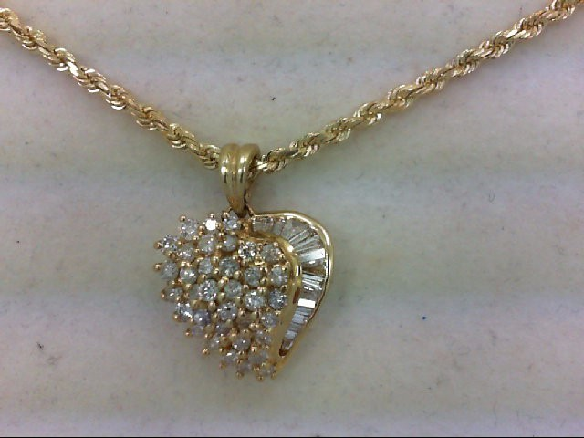 Gold-Multi-Diamond Pendant 51 Diamonds 1.53 Carat T.W. 14K Yellow Gold 14.5g