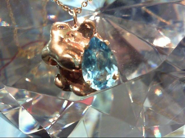Blue Topaz Gold-Stone Pendant 14K Yellow Gold 13.5g