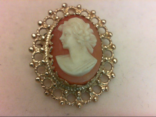 Cameo Gold-Stone Brooch 14K Yellow Gold 5.3g