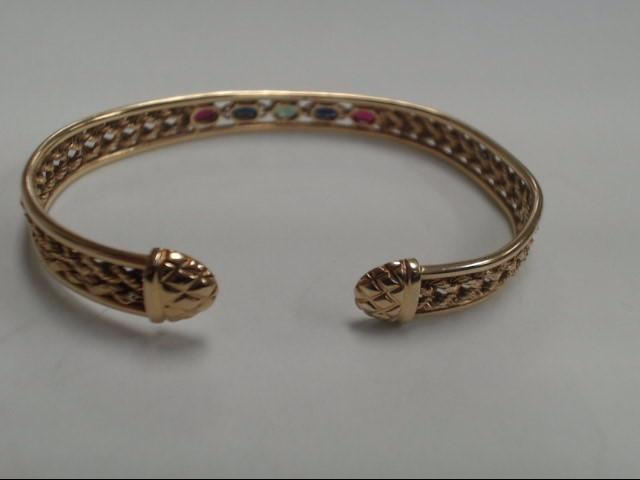 Ruby Gold-Stone Bracelet 14K Yellow Gold 6.64g
