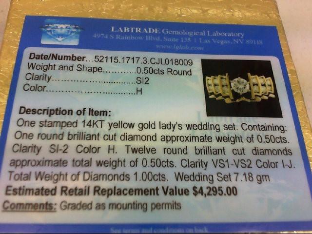 Lady's Diamond Wedding Set 13 Diamonds .98 Carat T.W. 14K Yellow Gold 7.18g