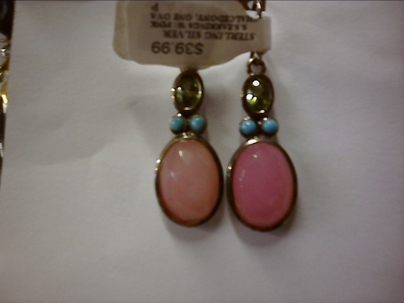 S.S.EARRINGS W/ PINK CHALCEDONY, ONE OVAL PERIDOT AND 2 SMALL TOURQ. EA EARRING