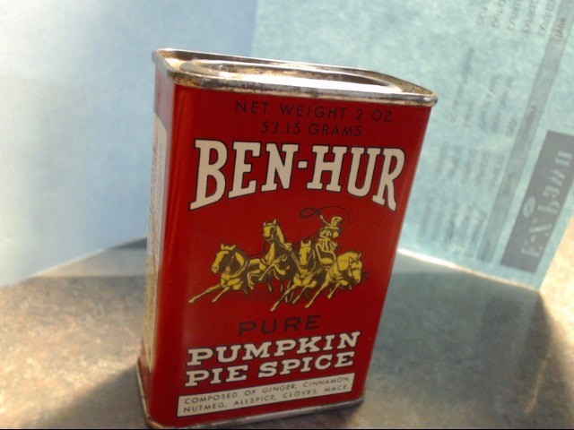 ANTIQUE BEN HUR PUMPKIN PIE SPICE TIN