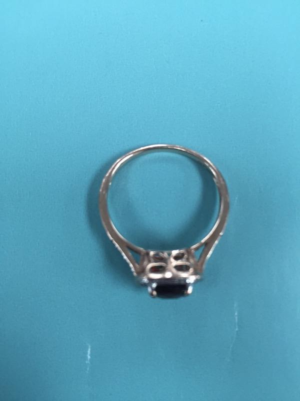 Synthetic Almandite Garnet Lady's Stone & Diamond Ring