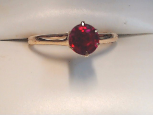 Pink Stone Lady's Stone Ring 10K Yellow Gold 1.9g Size:6.5