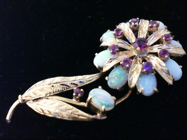 Opal Gold-Stone Brooch 14K Yellow Gold 6.6g