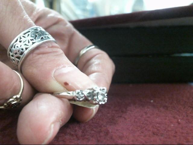 Lady's Diamond Engagement Ring 3 Diamonds .22 Carat T.W. 14K White Gold 1.9dwt