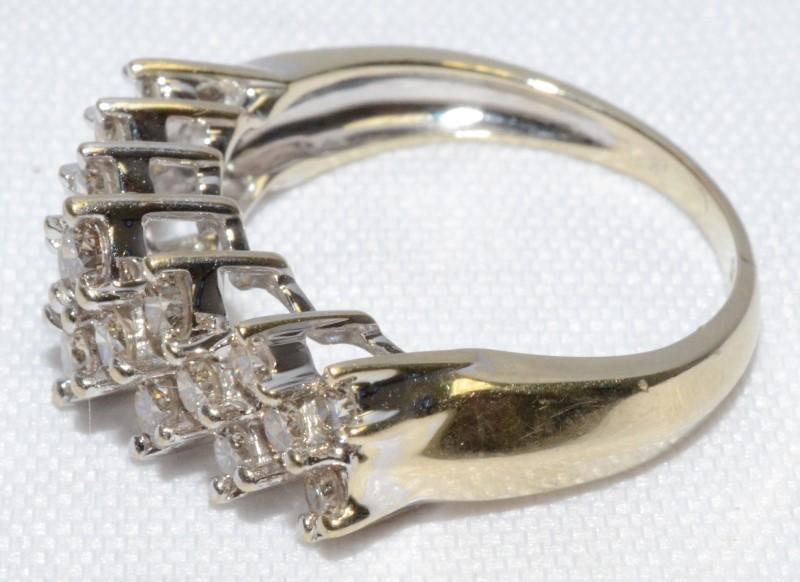 14K White Gold Double Row Diamond Ring Band 1.00tcw Size 5.75