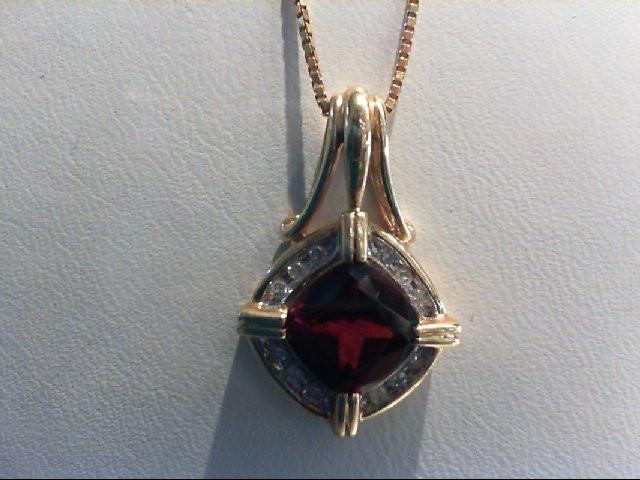 Almandite Garnet Gold-Diamond & Stone Pendant 12 Diamonds .12 Carat T.W.