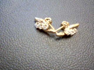 Gold-Diamond Earrings 6 Diamonds .30 Carat T.W. 14K Yellow Gold 2.8g