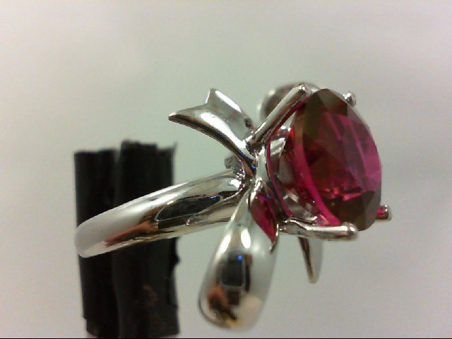 Synthetic Almandite Garnet Lady's Silver & Stone Ring 925 Silver 5.5g Size:5