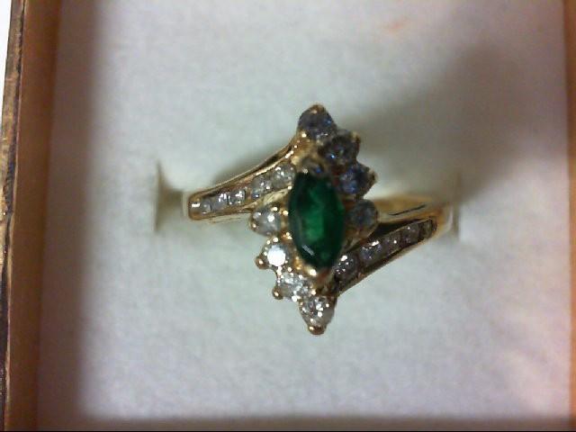 Emerald Lady's Stone & Diamond Ring 18 Diamonds .34 Carat T.W. 14K Yellow Gold