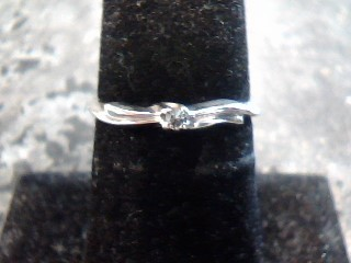 Lady's Diamond Solitaire Ring .02 CT. 14K White Gold 1dwt