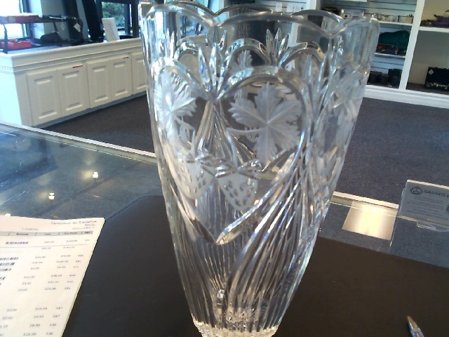 Crystal Vase with Strawberry and Cherry Designs